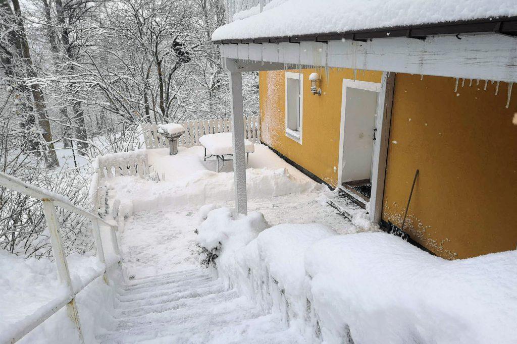 """Ferienwohnung """"Altstadt"""" - Terrasse im Winter"""