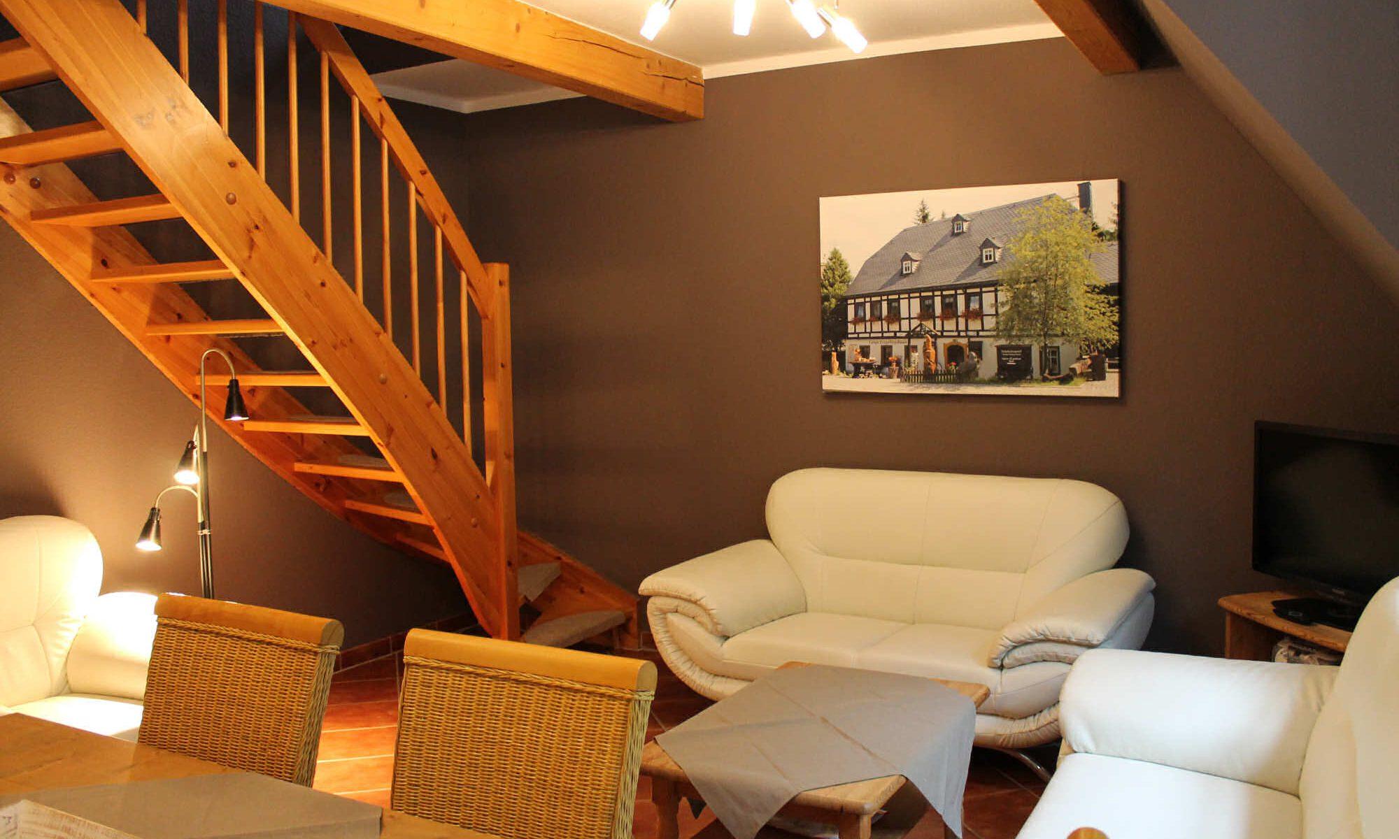 Appartement Keilberg - Wohnbereich mit Treppe