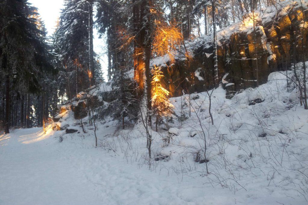 Impressionen Winter Sonnenuntergang an den Butterfässern